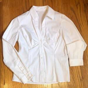 Tahari V Neck Fitted Button Down